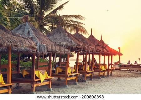 Restaurant on beach - stock photo