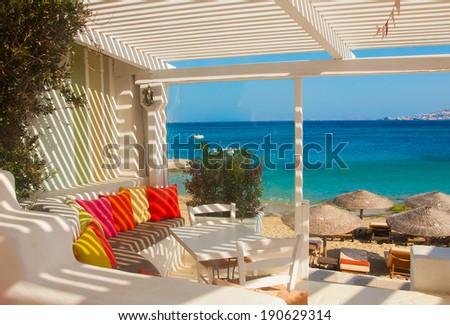 restaurant on the beach of Mediterranean Sea - stock photo