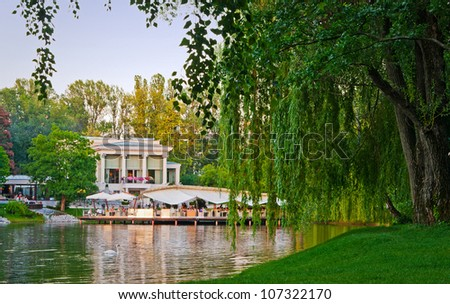 restaurant on the lake in the park