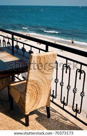 Restaurant on the seafront - stock photo