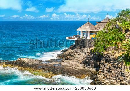 Restaurant on the seashore  - stock photo