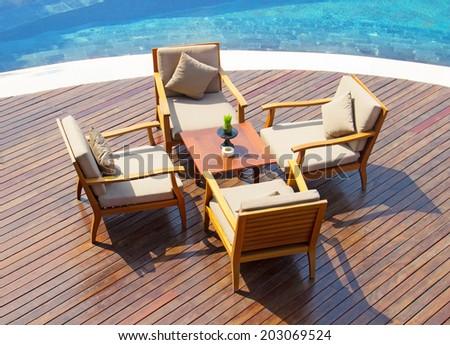 restaurant outdoor - stock photo