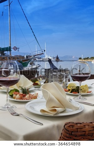 restaurant overlooking the harbor - stock photo