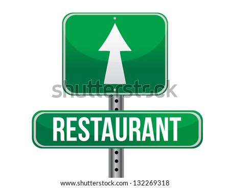 restaurant road sign illustration design over a white background