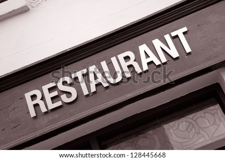 Restaurant Sign in Black and White Sepia Tone