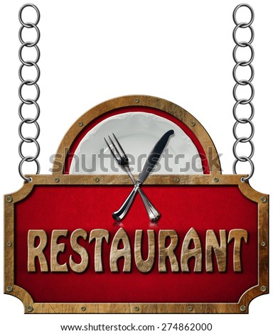 Restaurant Sign with Metal Chain. Restaurant sign with metal frame, white plate with silver cutlery. Hanging from a metal chain and isolated on a white background - stock photo