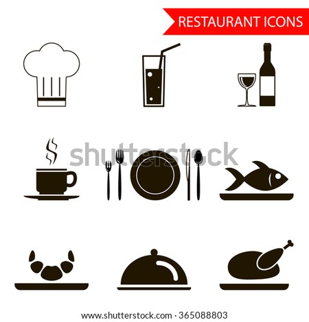 restaurant sihouette icons set