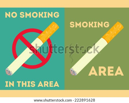 Restaurant Stickers Set. Catering Signage No Smoking. Illustration. - stock photo