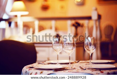 restaurant table - stock photo