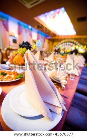 Restaurant Table before big Party begins