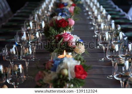 restaurant table decorations for events and ceremonies - stock photo