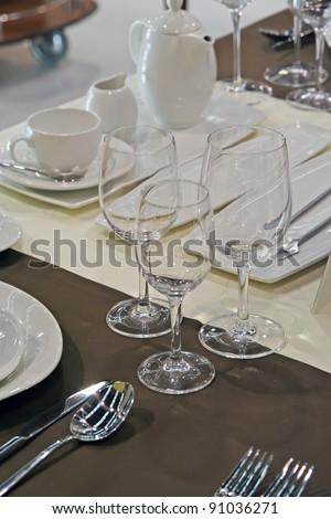 Restaurant table set. Dinning set at restaurant table. - stock photo