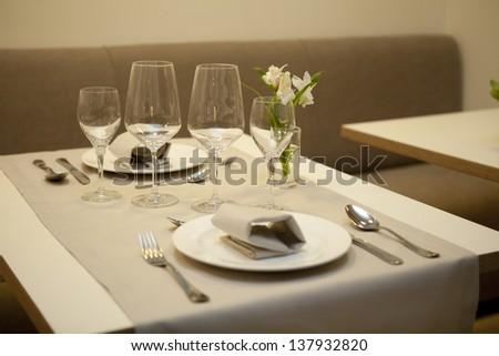 Restaurant table setting. - stock photo