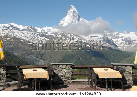 Restaurant  terrace at Sunnegga with Matterhorn - stock photo