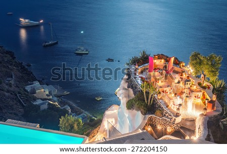 Restaurant terrace over the ocean at night. Luxury and holiday concept. - stock photo