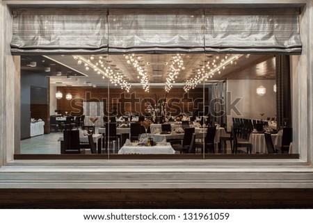 Restaurant View Through Huge Window Stock Photo 131961059 Shutterstock