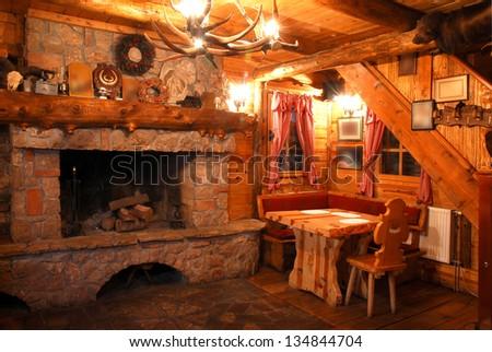 Restaurant with wooden interior - stock photo