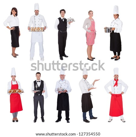 Restaurant workers, cooks, bullets and waiters. Isolated on white - stock photo