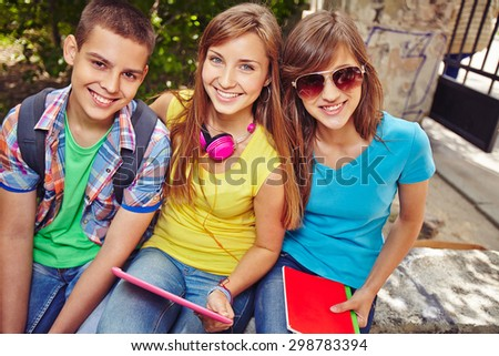 Restful teens on summer vacations - stock photo
