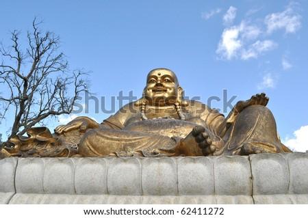 Resting Gold Buddah - stock photo