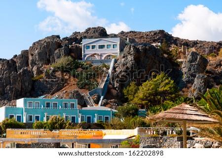 Resting-place ashore Mediterranean in Greece. Crete. Calipso - stock photo