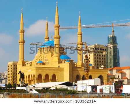 Restoration of a mosque by means of elevating cranes in Beirut, Lebanon - stock photo