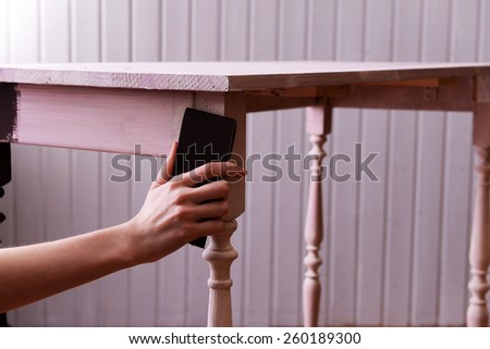 Restoration of table close-up - stock photo