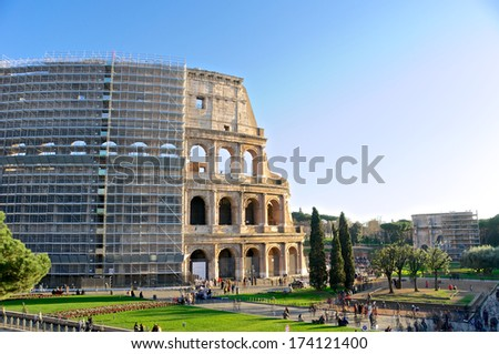 Restoration of the Colosseum - Rome symbol - stock photo