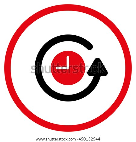 Restore Clock glyph icon. Style is bicolor flat circled symbol, intensive red and black colors, rounded angles, white background.