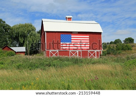 Restored barn dating to 1889, in the American Midwest - stock photo