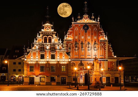 Restored Blackheads House in the Old Riga. Latvia. - stock photo