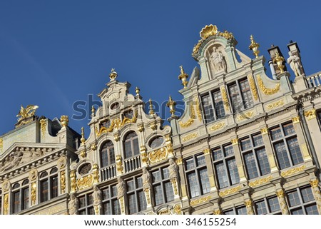 Restored buildings of guild houses on Grand Place in Brussels, Belgium - stock photo