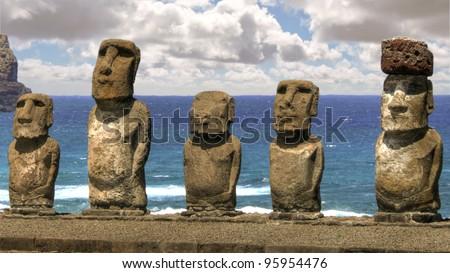 Restored moai at Easter Island - stock photo