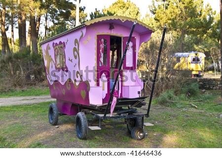 restored old circus caravan - stock photo