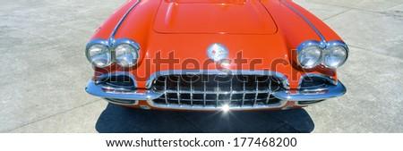 Restored red 1959 Corvette, front close-up, Portland, Oregon - stock photo