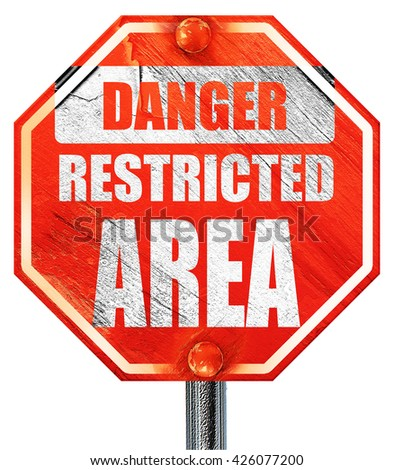 Restricted area sign, 3D rendering, a red stop sign - stock photo