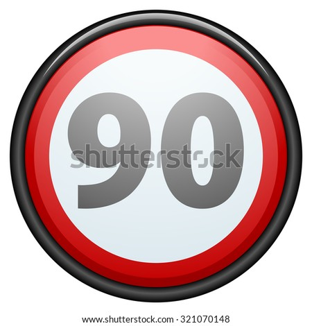 Restricting speed to 90 kilometers per hour traffic sign - stock photo