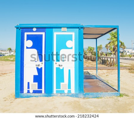restroom cabin in Poetto beach - stock photo