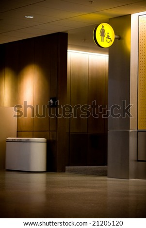 Restroom entrance at an airport - stock photo