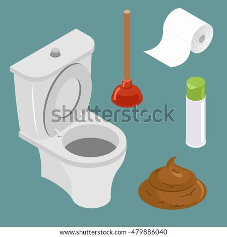 Restroom icon set. White toilet bowl. Spray air freshener. Red rubber plunger. Roll of toilet paper. Pile of shit, turd