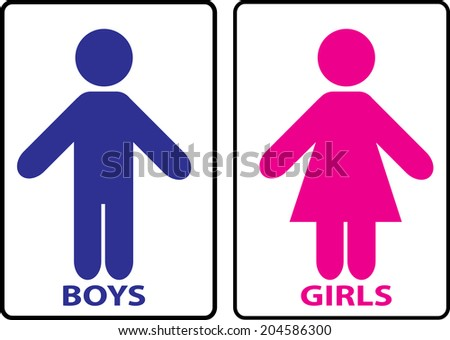 Restroom sign stock illustration 204586300 shutterstock for Boy and girl bathroom door signs