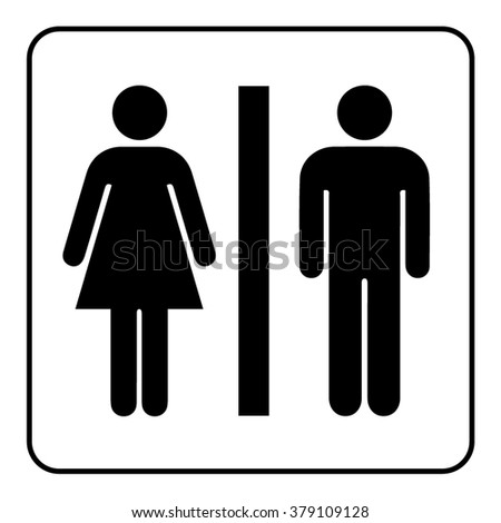 Restroom sign. Male and female toilet icon denoting restroom facilities for both men and women. Lady and a man WC emblem. Lavatory symbol on white background. Stock Illustration - stock photo