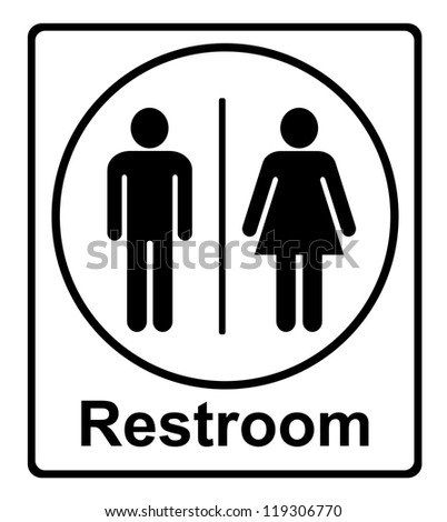 restroom sing on white background - stock photo