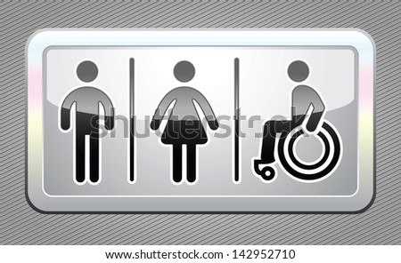 Restroom symbols, big gray button. Rasterized versions (copy) - stock photo