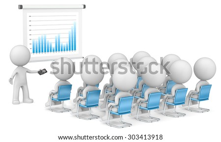 Result. Dude the Business 3D characters X 13 at seminar. Looking at projector screen. Blue Graph. - stock photo