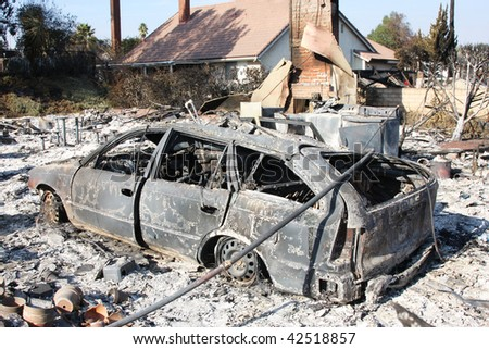 Result of huge fire in San Diego 2007 - stock photo