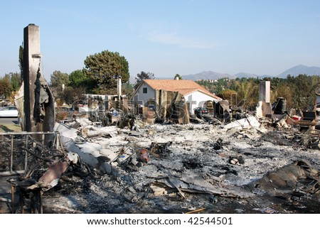 Result of huge fire in San Diego California 2007