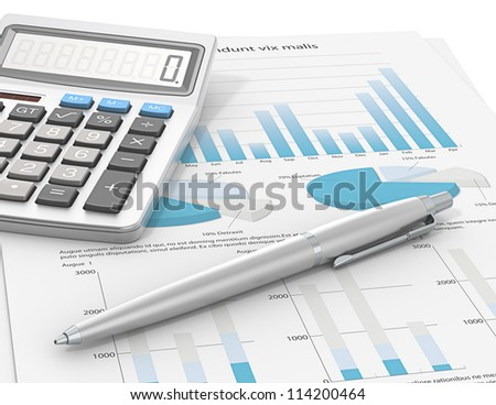 Result. Pen and Calculator on a paper with graph and charts. Blue Theme color. - stock photo