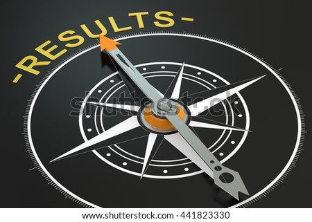 Results compass concept, 3D rendering - stock photo
