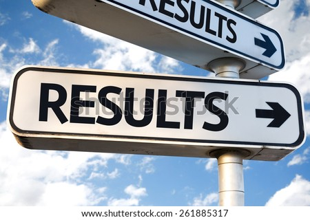 Results direction sign on sky background